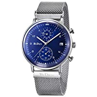 KEYREN BIDEN Fashion Men Male Quartz Wrist Watch Stainless Steel Band Wristwatch Collection Classic Gift(02)