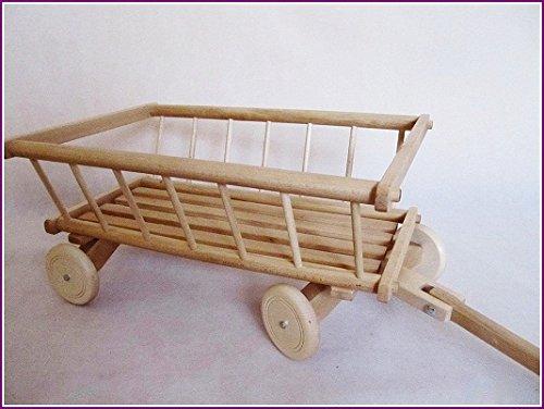 """Preisvergleich Produktbild """"Holzwagen"""" 71 Leiterwagen aus Holz Spielzeug Transportwagen Kinder (Roh-lackiert)"""