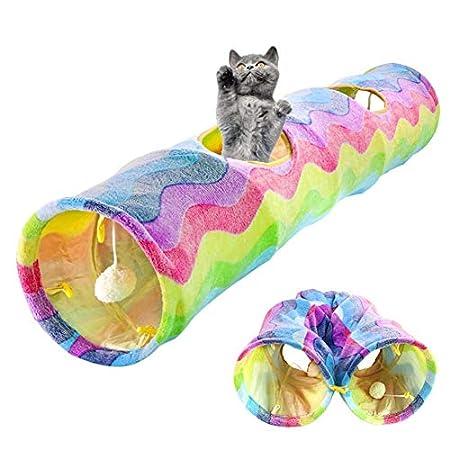 Zusammenklappbar Cat Tunnel-Schlauch, Interactive Crinkle Katzenspielzeug faltbare S Way Schlauch Hideaway Spielen Spielzeug mit Kugel Spielplatz for Haustier-Katzen-Tunnel Spielzeug Innen jilisay