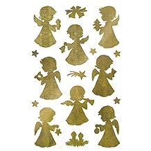 AVERY Specialform art. 52393 dekal jul 32 ängel (julklistermärke, transparent folie, präglad, guld, självhäftande, dekoration jul, julpost, presenter)