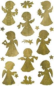 AVERY Specialform art. 52393 dekal jul 32 ängel (julklistermärke, transparent folie, präglad, guld, självhäfta