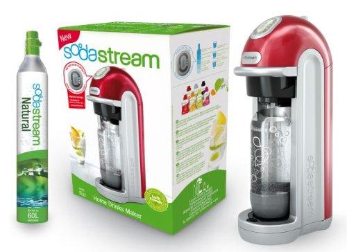SodaStream 1018111492 Wassersprudler Fizz inklusiv 1x Alu-Zylinder 60 L und 1x 1-Liter PET-Flasche, rot