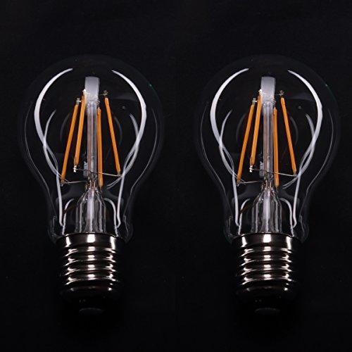 2er Pack 4W E27 LED Fadenlampe Energiesparbirne Lampe Birne 230V Warmweiß [Energieklasse A]