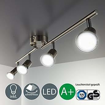 SISTEMA 4 FARETTI SPOT compreso di 4 lampadine LED GU 10 da 3 WATT, 250 Lumen...