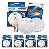 Nemaxx 4x SP10-NF Rauchmelder - langlebiger Rauchwarnmelder mit 9 V Lithiumbatterie - Feuermelder nach DIN EN 14604 und NF Zertifikat geprüft - weiß + NX1 Befestigungspad