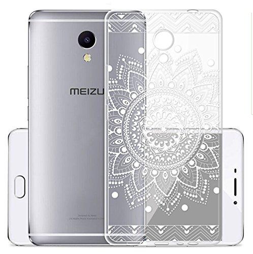 Cover Per Meizu M5S 5,2 pollici,Sunrive® Custodia Case in molle Trasparente TPU silicone Morbida Flessibile Pelle Antigraffio protettiva(tpu Fiore Bianco)