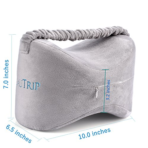 BEAUTRIP Orthopedic Knee Pillows for Sciatica Relief, Back Pain, Leg Pain, Pregnancy, Hip and Joint Pain – Memory Foam Wedge Contour Leg Pillow with Washable Cover