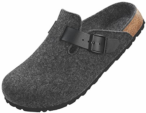 Betula Filzpantolette in dunkelgrau mit schmalem Fußbett und Weichbettung Dunkelgrau/darkgrey