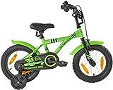 PROMETHEUS Kinderfahrrad 14 Zoll Jungen in Grün & Schwarz mit Stützrädern | Seitenzugbremse und Rücktrittbremse | ab 4 Jahren | 14' BMX Edition 2017
