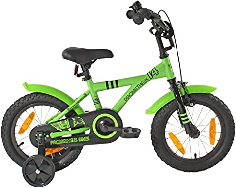 PROMETHEUS Kinderfahrrad 14 Zoll Jungen in Grün & Schwarz mit Stützrädern | Seitenzugbremse und Rücktrittbremse | ab 4 Jahren | 14