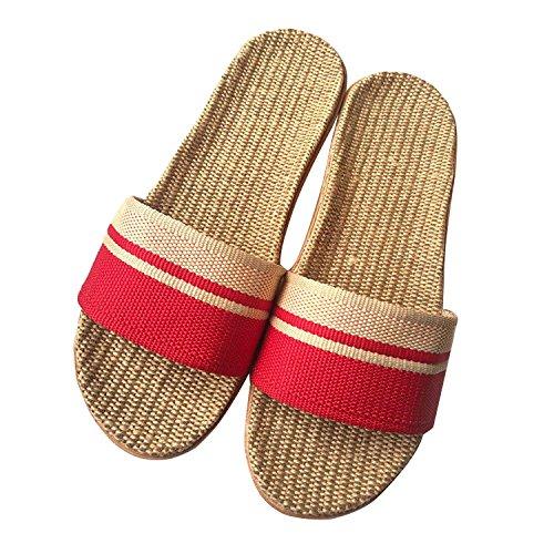 Minetom unisex donne uomo pantofole di lino naturale con fasce incrociate ciabatte antiscivolo punta aperta infradito sandali piatte interno scarpe spiaggia piscina doccia b rosso eu 35/36