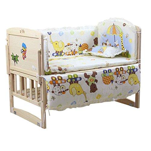 Luckiests 5pcs Baby-Bett-Bumpers aus Reiner Baumwolle Baby-Bettwäsche-Satz Newborn Karikatur druckt Krippe Zaun-Schutz für Kleinkind