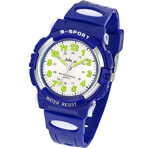 Juboos Kinderuhr Jungen Mädchen Analog Quartz Uhr mit Armbanduhr Kautschuk Wasserdicht Outdoor Sports Uhren-JU-001 (Dunkelblau)