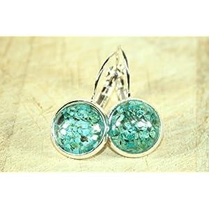 Kirschblüten - Kleine Echtblüten Ohrringe blau-silber, 12mm, Handmade, ein süßes, besonderes Geschenk für die...