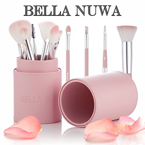 Makeup Brush Set With Case by Bella Nuwa Cosmetics - Designer Pink Makeup Brushes Accessories Set Holder Pot acts as a Make up Brush Storage Organizer Kit and Travel Case - This Cosmetic Beauty Set Contains Pro Make up Artist Brushes Including a Beautiful Pink Case - Perfect Gift - New 2017