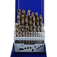 LARS360 ® Metal broca Set Broca sets 25 Pcs Juego de brocas para metal (HSS lijada, taladro de mano profesional de piedra machos Juego de brocas espiral broca