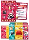 6 Einladungskarten incl. 6 Umschläge zum Kindergeburtstag für Mädchen und Jungen Kino-Party / pink / Umschlag / bunte Einladungen zum Geburtstag / bunte Geburtstagseinladungen