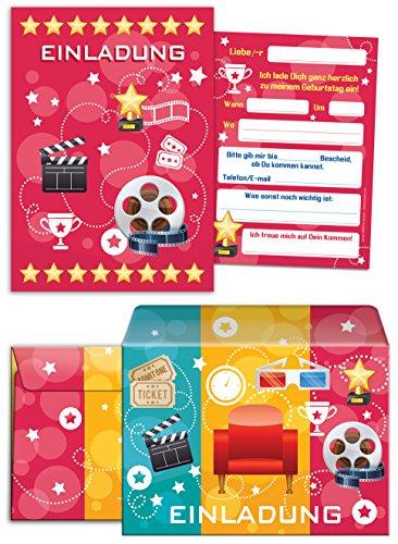 8 Einladungskarten incl. 8 Umschläge zum Kindergeburtstag für Mädchen und Jungen Kino-Party / pink / Umschlag / bunte Einladungen zum Geburtstag / bunte Geburtstagseinladungen (8 Karten + 8 Umschläge)