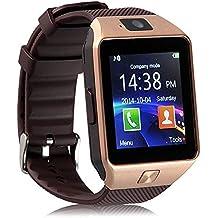 DXABLE Bluetooth Reloj Inteligente - Reloj De Pulsera Fit para Smartphones iOS Apple iPhone 4/4S/5/5 C/5S Android Samsung S2/S3/S4/Note 2/Note 3 HTC Sony Blackberry (Oro)
