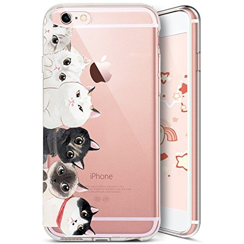 iPhone 6S Plus Custodia Silicone, iPhone 6 Plus Cover Trasparente, JAWSEU Gatto Carino Creativo Disegno Protectiva Bumper Cristallo Chiaro Custodia Cover per Apple iPhone 6 Plus/6S Plus Case Caso Lumi Gatto carino #10
