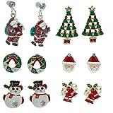 Onefeart Pendientes de Aleación Mujeres Niños Santa Claus Monigote de nieve Corbata de Moño Árbol de Navidad Regalo de Navidad 6PC/Set