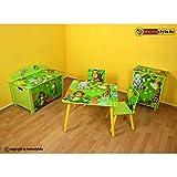 Homestyle4u 646 Kinderkommode Dschungel Tiere , Kinderschrank mit 3 Schubladen für das Kinderzimmer , Holz Grün