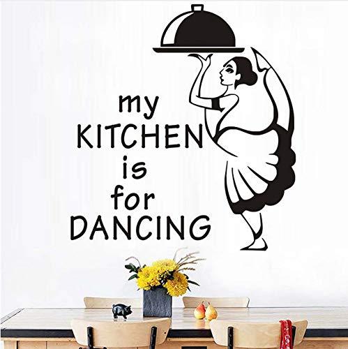 Gwgdjk Meine Küche Ist Zum Tanzen Kellnerin Mit Mahlzeit Abnehmbare Wandaufkleber Küche Restaurant Farbe Rot Aufkleber Wandbild