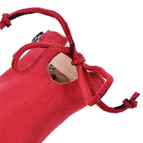 VogueZone009 Donna Puro Tacco Alto Cerniera Scarpe A Punta Stivali con Metallo Rosso