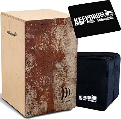 Schlagwerk CP4023 Skinwood Red Cajon + KEEPDRUM Tasche + Sitzpad