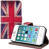 kwmobile Hülle für Apple iPhone 4 / 4S - Wallet Case Handy Schutzhülle Kunstleder - Handycover Klapphülle mit Kartenfach und Ständer Flagge Großbritannien Design Rot Weiß Blau