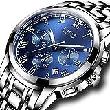 SUNWH Uhren Herren Luxus Marke Chronograph Herren Sport Uhren wasserdicht Edelstahl Quarz Herren-Armbanduhr Blau S-01B