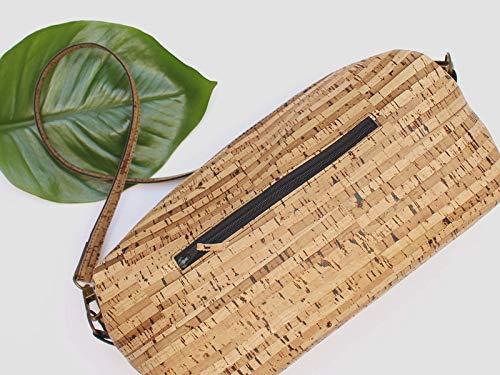 Kork Handtasche, Umhängetasche, vegan, schwarze Schultertasche, Geschenk, - 4