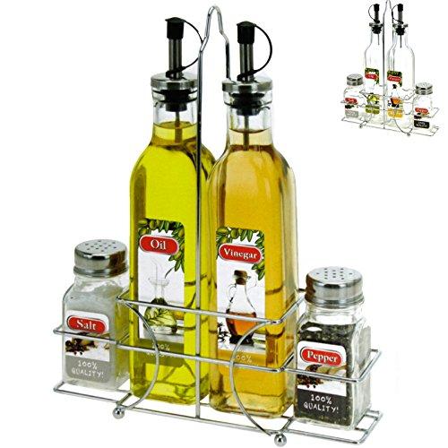 Essig & Öl Spender Pfeffer Salz Streuer Set Tischdeko Servierset inklusive Korb (Salz Und Pfeffer Korb)
