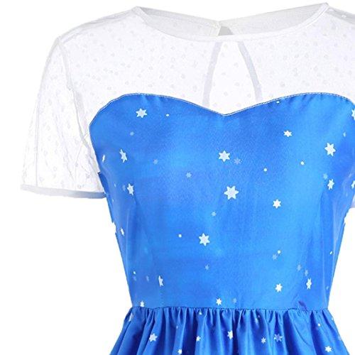 Robe de Soirée Cocktail Noël fête, Koly 2017 Robe rétro femme dentelle manche courte vintage A-Line Swing Dress Bleu