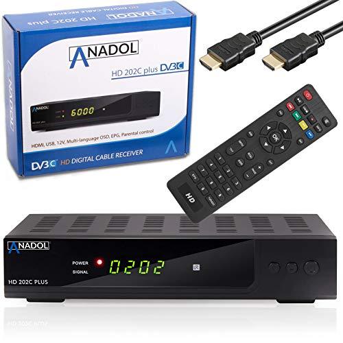 Xaiox Anadol HD 202c + digitaler Full HD Kabel-Receiver [Umstieg Analog auf Digital] inkl HDMI Kabel (HDTV, DVB-C / C2, HDMI, Chinch, Mediaplayer, USB, 1080p) automatische Installation schwarz
