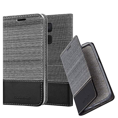 Cadorabo Hülle für BQ Aquaris V/Vs Plus - Hülle in GRAU SCHWARZ – Handyhülle mit Standfunktion und Kartenfach im Stoff Design - Case Cover Schutzhülle Etui Tasche Book