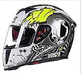 L&U ABS-Material komplett überzogener Motorradhelm, Totenkopf-Serie, Doppelschichtlinse, hochauflösende Entblendung, Komfortabler und atmungsaktiver Unisex-Motorradhelm