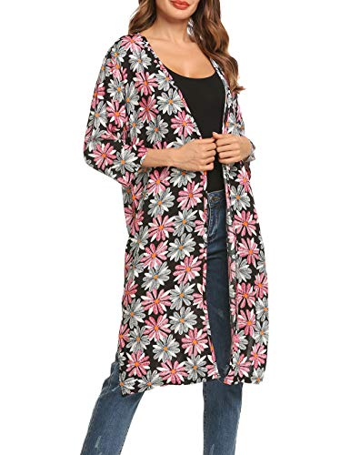 Kimono Damen Sommer Strickjacke Cardigan 3/4 Ärmel Leicht Bikini Frauen Cover up Mantel