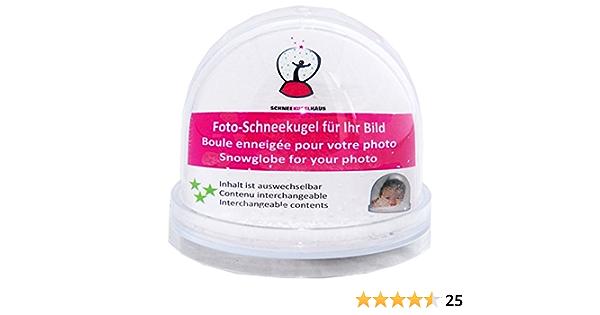 50008 Foto Schneekugel Groß Mit Sockel Transparent Mit Schnee Und Glitzer Bürobedarf Schreibwaren