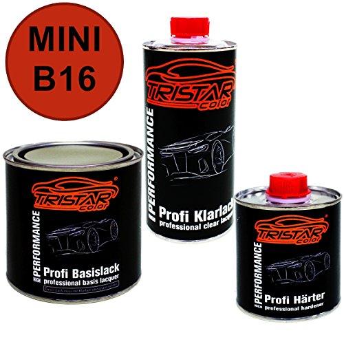 Preisvergleich Produktbild 1,25 Liter 2K Lack Set MINI B16 PURE RED / SIMPLY RED / BRIGHT RED ab 2010 - Profi Autolack spritzfertig & Klarlack & Härter