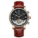 TYWZF Uhren Männer Automatische Mondphase Mens Mechanische Uhr Skelett Rose Gold Horloges,B