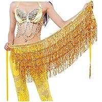 Geshiglobal - Cinturón de cintura para danza del vientre, disfraz de danza del vientre, lentejuelas, flecos, dorado