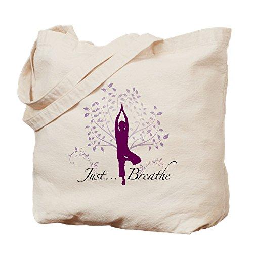 Yoga-tote Namaste (CafePress–Yoga Baum Just Breathe Tote–Leinwand Natur Tasche, Reinigungstuch Einkaufstasche)