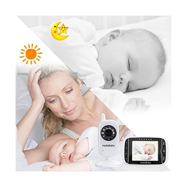 "HelloBaby Video Baby Monitor, 3.2"" Color LCD Screen with VOX Sound Activate Night Vision & Temperature Sensor, Two-Way Talkback System, White Camera (HB32) hellobaby 3.2 INCH LCD DISPLAY WITH ENHANCED 2.4GHZ TECHNOLOGY - The video baby monitor has a 3.2 Inch screen to show baby as you need , with 2.4GHz FHSS wireless transmission for 100% privacy and security.range up to 960ft without barriers. It is more convenient than IP camera. VOX FUNCTION - You do not have to pegged to the screen for long periods of time to avoid any unexpected omissions and no worries that babies will not be alerted during standby. Vox models can also save the battery power so as to length your use time. 8 LULLABIES PLAYING & NIGHT VISION FUNCTION - There are eight different soft lullabies to appease your baby when she is sleeping or waking up suddenly. Night vision camera allows you to clearly keep an eye on your baby's movements both day and night. 5"