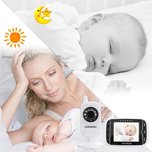 HelloBaby HB32 Wireless Video Babyphone mit Digitalkamera, Nachtsicht Temperaturüberwachung & 2 Way Talkback System,Weiß - 5