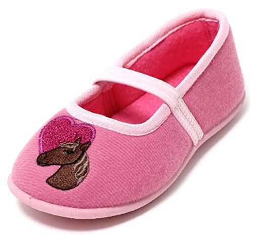 Zapato Mädchen Hausschuhe Ballerina Slipper Kinderschuhe Mädchenschuhe Softschuhe Kinder Kleinkinder Schuhe Pferd rosa pink Glitzer mit Riemchen Gr. 26-29 (26)