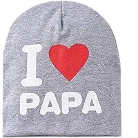 ZengBuks Los niños Los niños Imprimen de Punto I Love Mama Baby Hat Algodón Unisex Baby Cap Letter Kids Hat por 0-3 años - Gris