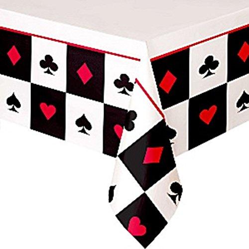 Herren Damen Casino Las Vegas Poker Karten Party Papier Geschirr Dekorationen Geburtstag Feier Neujahr Teller Tassen Servietten Tischdecke (Tischtuch) ()