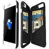 Coque iphone 7 portefeuille avec Miroir pour Les Femmes, Bidear Enfermé Miroir Arrière Cover avec 3 Cartes Bancaires Slot étui Dur avec HD Protection écran pour Apple iPhone 7 et iPhone 6 / 6s -4,7 pouces(Noir)