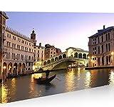 islandburner Bild Bilder auf Leinwand Venice Venedig 1p Rialto Brücke Italien XXL Poster Leinwandbild Wandbild Dekoartikel Wohnzimmer Marke